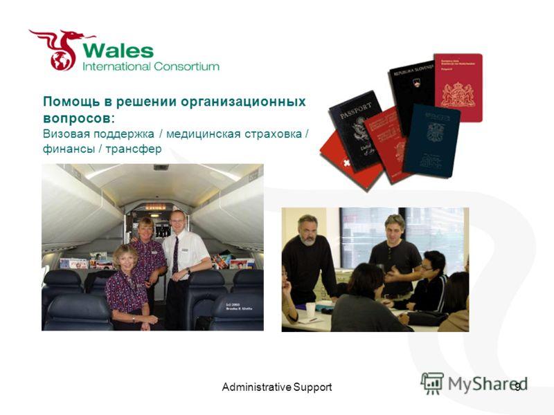 Administrative Support9 Помощь в решении организационных вопросов: Визовая поддержка / медицинская страховка / финансы / трансфер