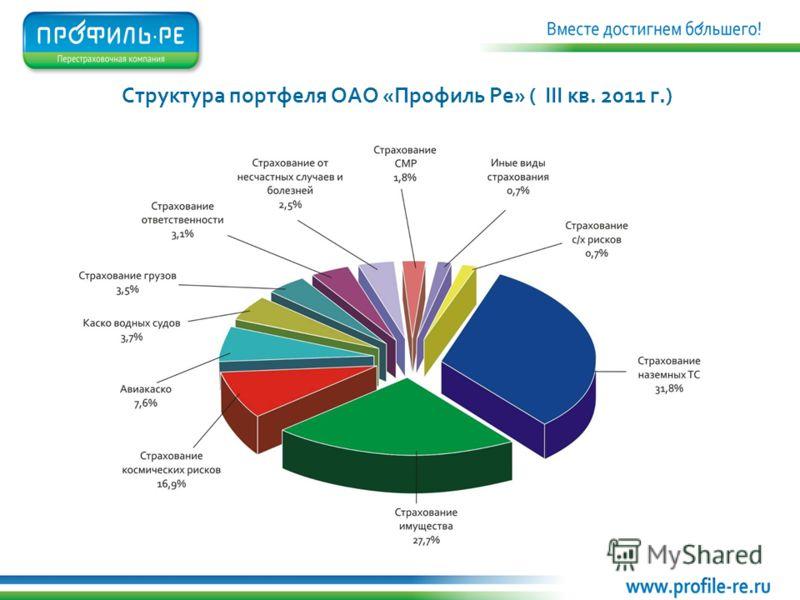 Структура портфеля ОАО «Профиль Ре» ( III кв. 2011 г.)