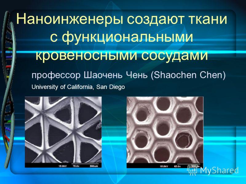 Наноинженеры создают ткани с функциональными кровеносными сосудами профессор Шаочень Чень (Shaochen Chen) University of California, San Diego