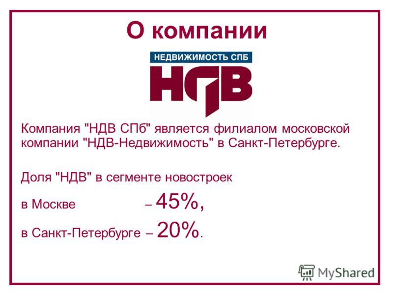 Компания НДВ СПб является филиалом московской компании НДВ-Недвижимость в Санкт-Петербурге. Доля НДВ в сегменте новостроек в Москве – 45%, в Санкт-Петербурге – 20%. О компании