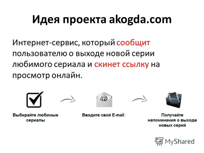 Идея проекта akogda.com Интернет-сервис, который сообщит пользователю о выходе новой серии любимого сериала и скинет ссылку на просмотр онлайн.