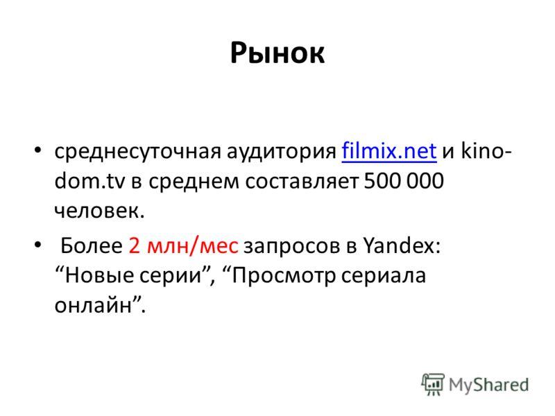 Рынок среднесуточная аудитория filmix.net и kino- dom.tv в среднем составляет 500 000 человек.filmix.net Более 2 млн/мес запросов в Yandex: Новые серии, Просмотр сериала онлайн.