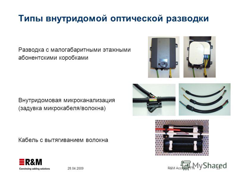 R&M Access FTTx 33 28.04.2009 Типы внутридомой оптической разводки Разводка с малогабаритными этажными абонентскими коробками Внутридомовая микроканализация (задувка микрокабеля/волокна) Кабель с вытягиванием волокна