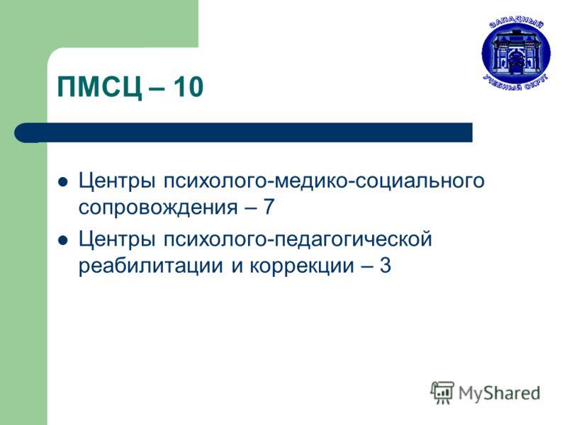 ПМСЦ – 10 Центры психолого-медико-социального сопровождения – 7 Центры психолого-педагогической реабилитации и коррекции – 3