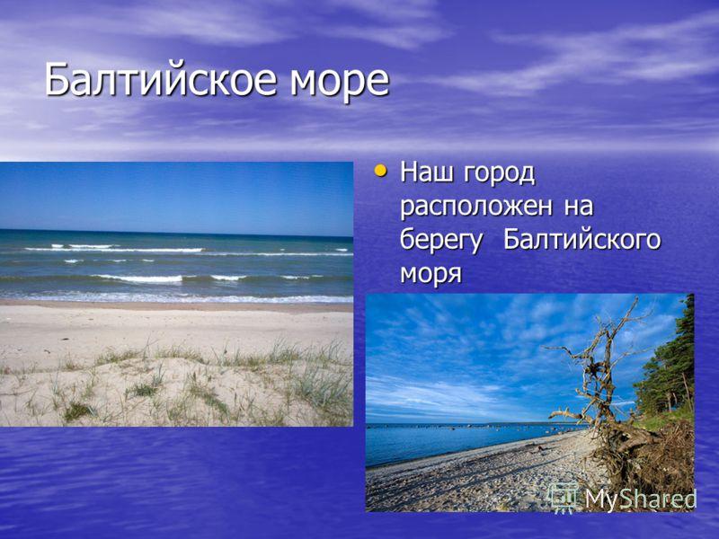 Балтийское море Наш город расположен на берегу Балтийского моря Наш город расположен на берегу Балтийского моря