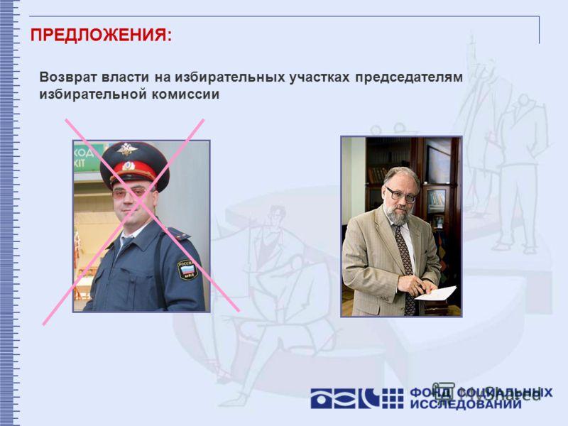 Возврат власти на избирательных участках председателям избирательной комиссии ПРЕДЛОЖЕНИЯ: