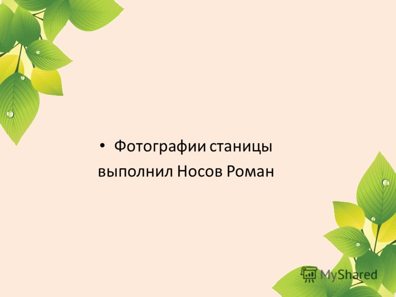 Фотографии станицы выполнил Носов Роман