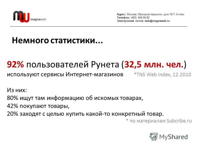 Адрес: Москва, Мажоров переулок, дом 10/1, 4 этаж. Телефон: (495) 646-06-82 Электронная почта: web@magnaweb.ru Немного статистики... 92% пользователей Рунета (32,5 млн. чел.) используют сервисы Интернет-магазинов *TNS Web Index, 12.2010 Из них: 80% и