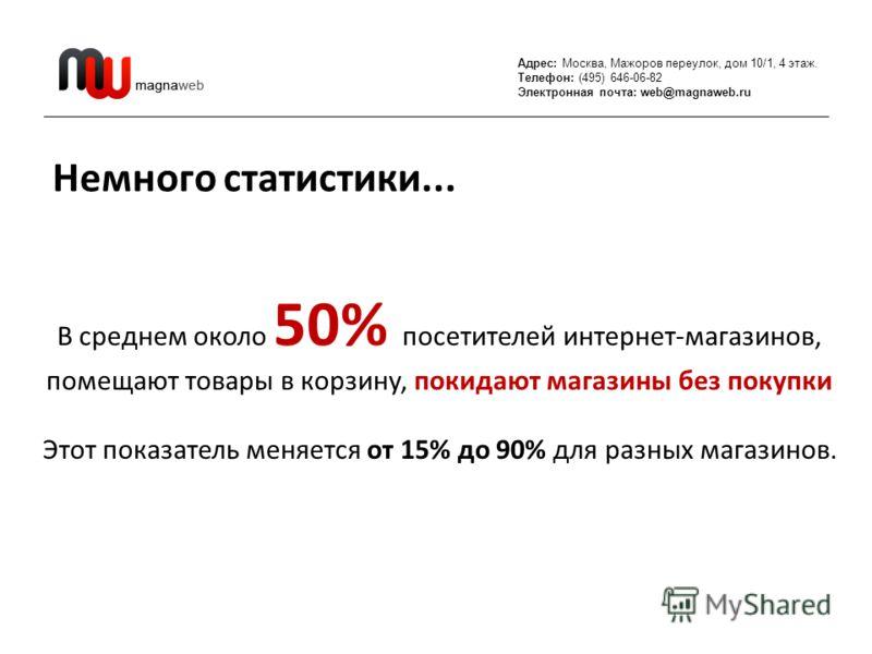 Адрес: Москва, Мажоров переулок, дом 10/1, 4 этаж. Телефон: (495) 646-06-82 Электронная почта: web@magnaweb.ru Немного статистики... В среднем около 50% посетителей интернет-магазинов, помещают товары в корзину, покидают магазины без покупки Этот пок