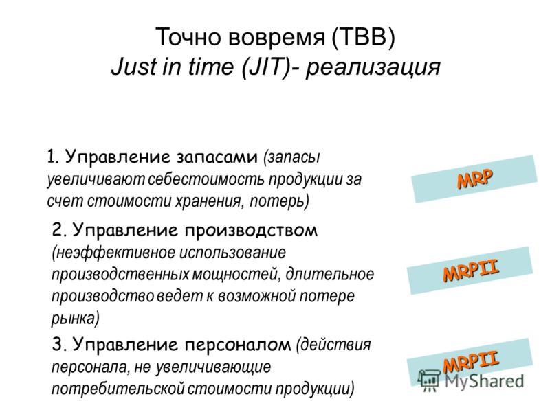 Точно вовремя (ТВВ) Just in time (JIT)- реализация 1. Управление запасами (запасы увеличивают себестоимость продукции за счет стоимости хранения, потерь) MRP 2. Управление производством (неэффективное использование производственных мощностей, длитель