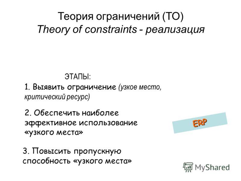 Теория ограничений (ТО) Theory of constraints - реализация 1. Выявить ограничение (узкое место, критический ресурс) ERP 2. Обеспечить наиболее эффективное использование «узкого места» 3. Повысить пропускную способность «узкого места» ЭТАПЫ: