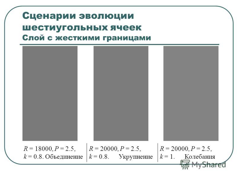 Сценарии эволюции шестиугольных ячеек Слой с жесткими границами R = 18000, P = 2.5, k = 0.8. Объединение R = 20000, P = 2.5, k = 0.8. Укрупнение R = 20000, P = 2.5, k = 1. Колебания
