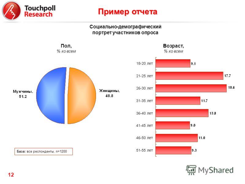 12 Возраст, % ко всем База: все респонденты, n=1200 Пол, % ко всем Социально-демографический портрет участников опроса Пример отчета