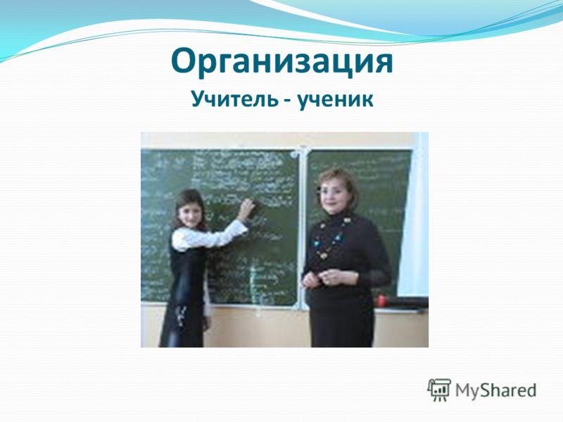 Организация Учитель - ученик