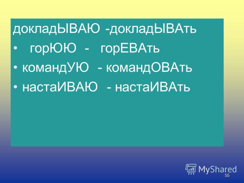 54 Алгоритм правописания суффиксов -ова- (-ева-), -ыва-(-ива-) гор.вать, доклад.вать 1.Ставлю глагол в форму наст. или буд.вр 1-го лица ед.ч. Я 2. Смотрю, на что оканчивается глагол -ую, -юю -ываю, -иваю -ова-, -ева- -ыва-, -ива-.