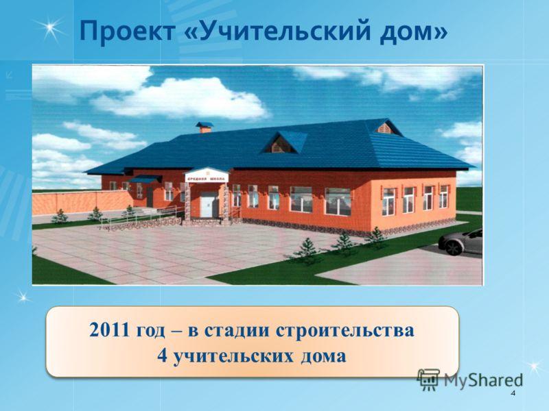 Проект «Учительский дом» 4 2011 год – в стадии строительства 4 учительских дома 2011 год – в стадии строительства 4 учительских дома