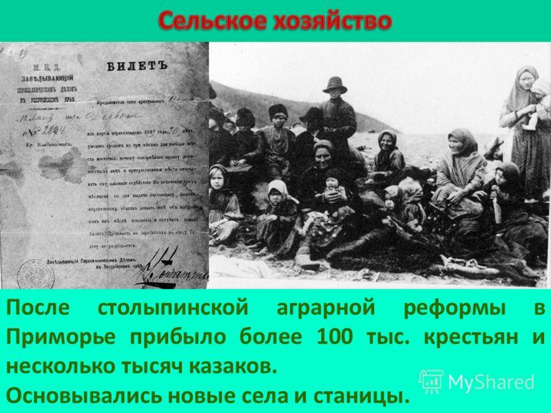 После столыпинской аграрной реформы в Приморье прибыло более 100 тыс. крестьян и несколько тысяч казаков. Основывались новые села и станицы.