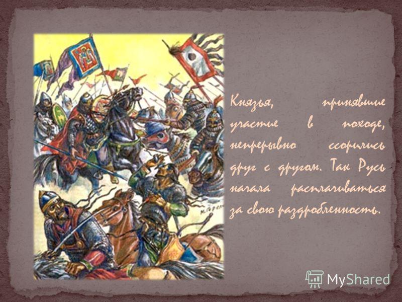 Князья, принявшие участие в походе, непрерывно ссорились друг с другом. Так Русь начала расплачиваться за свою раздробленность.