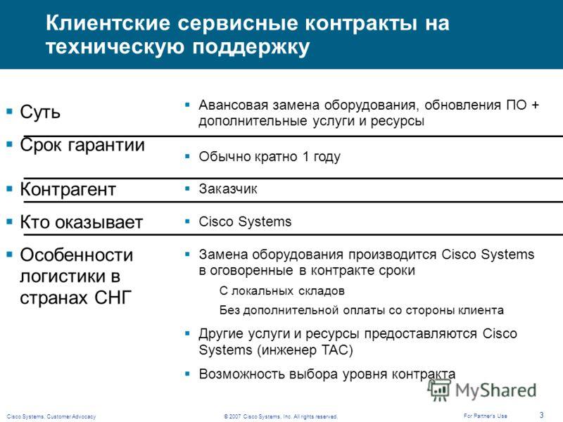 © 2007 Cisco Systems, Inc. All rights reserved.Cisco Systems, Customer Advocacy 3 For Partners Use Клиентские сервисные контракты на техническую поддержку Суть Срок гарантии Контрагент Кто оказывает Особенности логистики в странах СНГ Авансовая замен