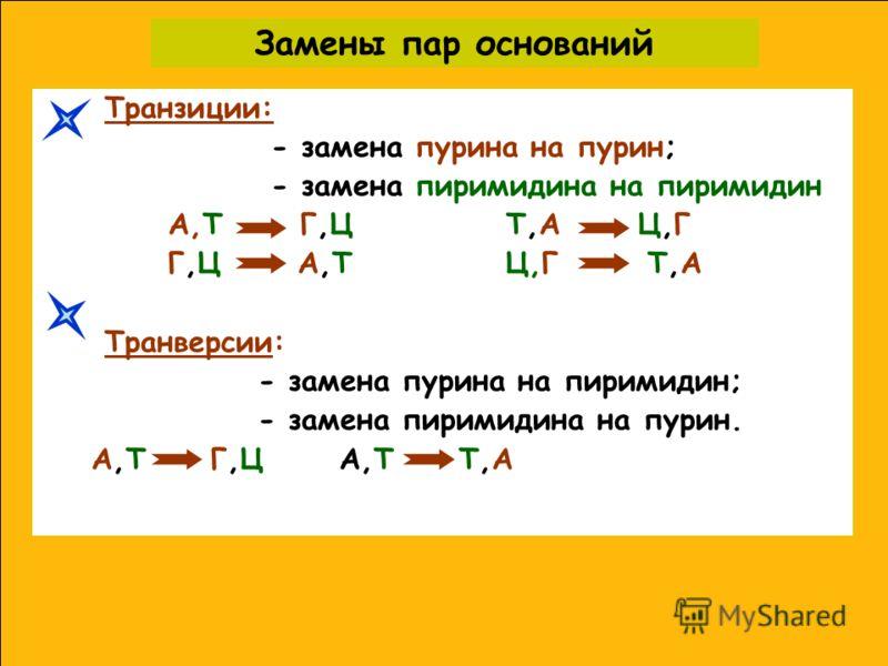 Замены пар оснований Транзиции: - замена пурина на пурин; - замена пиримидина на пиримидин A,Т Г,Ц T,A Ц,Г Г,Ц А,Т Ц,Г T,A Транверсии: - замена пурина на пиримидин; - замена пиримидина на пурин. A,T Г,Ц A,T T,A
