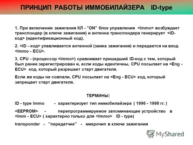 ПРИНЦИП РАБОТЫ ИММОБИЛАЙЗЕРА ID-type 1. При включении зажигания КЛ -