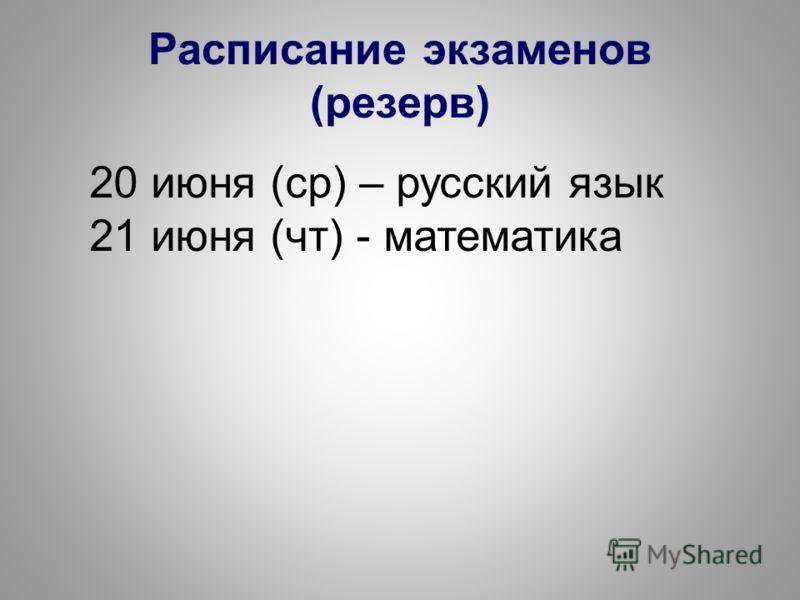 Расписание экзаменов (резерв) 20 июня (ср) – русский язык 21 июня (чт) - математика