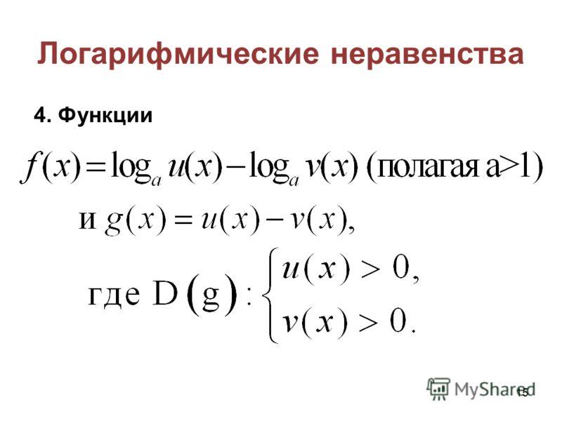 Логарифмические неравенства 4. Функции 15