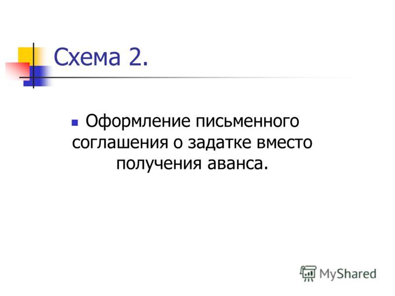 Схема 2. Оформление письменного соглашения о задатке вместо получения аванса.