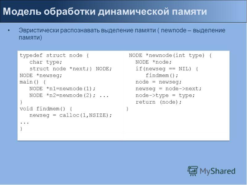 Модель обработки динамической памяти Эвристически распознавать выделение памяти ( newnode – выделение памяти)