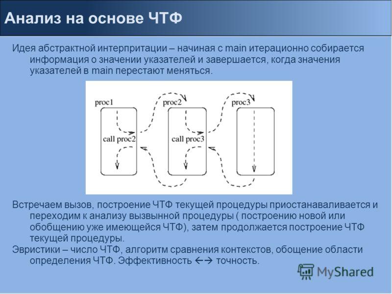 Анализ на основе ЧТФ Идея абстрактной интерпритации – начиная с main итерационно собирается информация о значении указателей и завершается, когда значения указателей в main перестают меняться. Встречаем вызов, построение ЧТФ текущей процедуры приоста