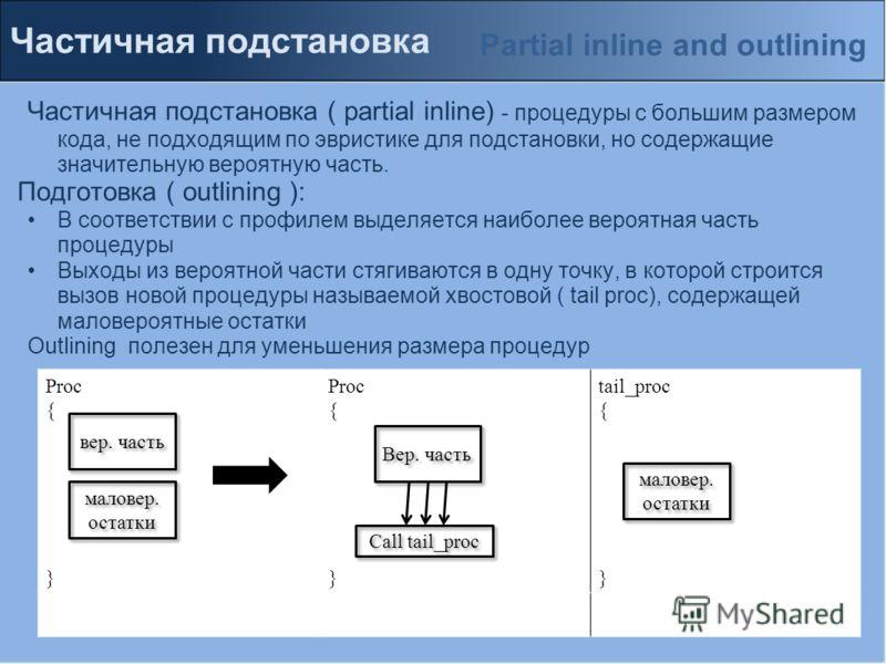 Частичная подстановка Частичная подстановка ( partial inline) - процедуры с большим размером кода, не подходящим по эвристике для подстановки, но содержащие значительную вероятную часть. Подготовка ( outlining ): В соответствии с профилем выделяется