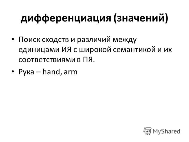 дифференциация (значений) Поиск сходств и различий между единицами ИЯ с широкой семантикой и их соответствиями в ПЯ. Рука – hand, arm