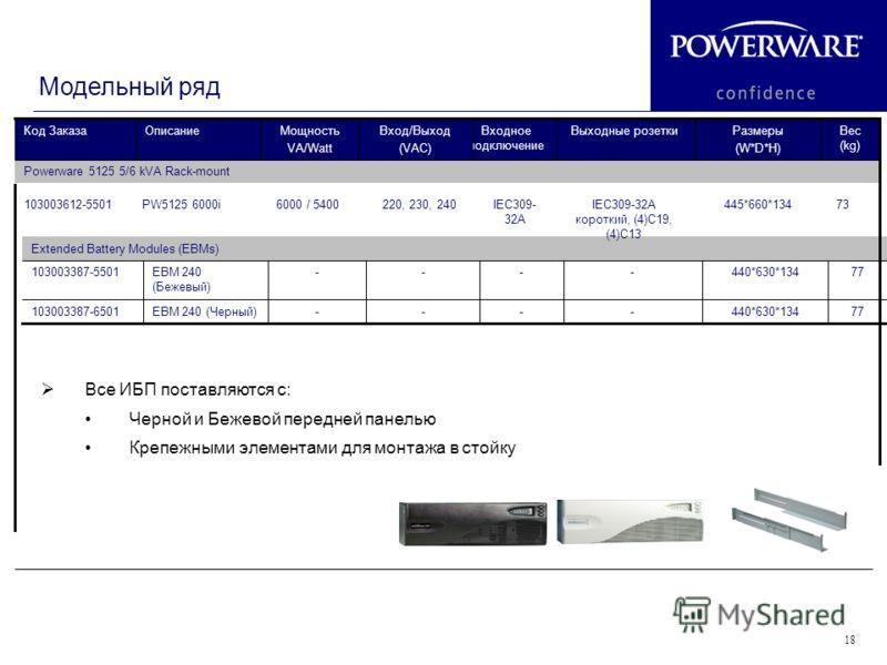 18 Модельный ряд 77440*630*134----EBM 240 (Черный)103003387-6501 77440*630*134----EBM 240 (Бежевый) 103003387-5501 Extended Battery Modules (EBMs) 73445*660*134IEC309-32A короткий, (4)C19, (4)C13 IEC309- 32A 220, 230, 2406000 / 5400PW5125 6000i103003