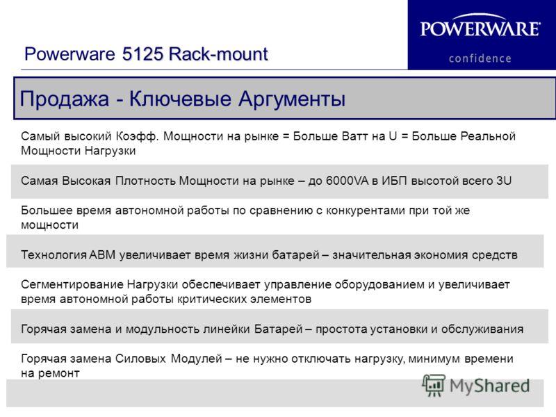 19 Продажа - Ключевые Аргументы 5125 Rack-mount Powerware 5125 Rack-mount Самый высокий Коэфф. Мощности на рынке = Больше Ватт на U = Больше Реальной Мощности Нагрузки Самая Высокая Плотность Мощности на рынке – до 6000VA в ИБП высотой всего 3U Больш