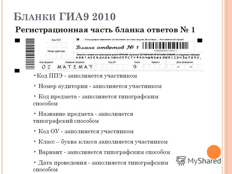 Б ЛАНКИ ГИА9 2010 Регистрационная часть бланка ответов 1 Код ППЭ - заполняется участником Номер аудитории - заполняется участником Код предмета - заполняется типографским способом Название предмета - заполняется типографский способом Код ОУ - заполня