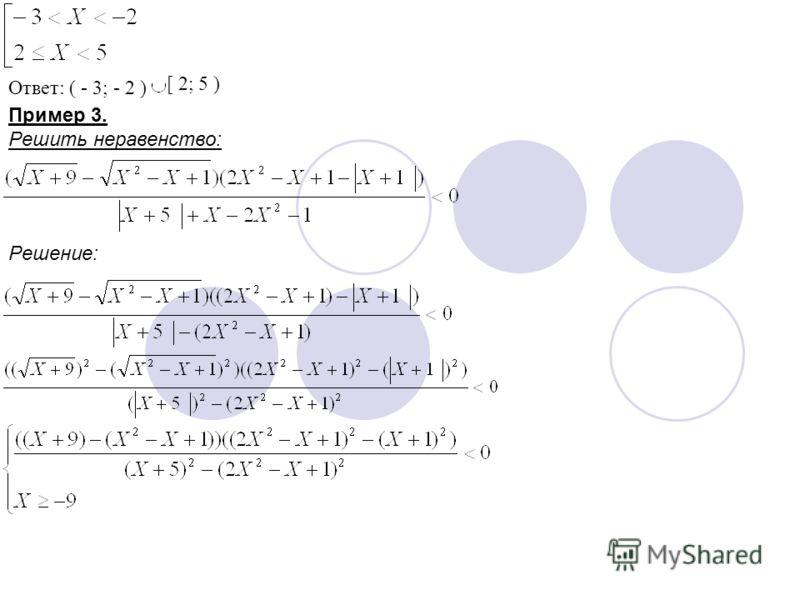 Ответ: ( - 3; - 2 ) [ 2; 5 ) Пример 3. Решить неравенство: Решение: