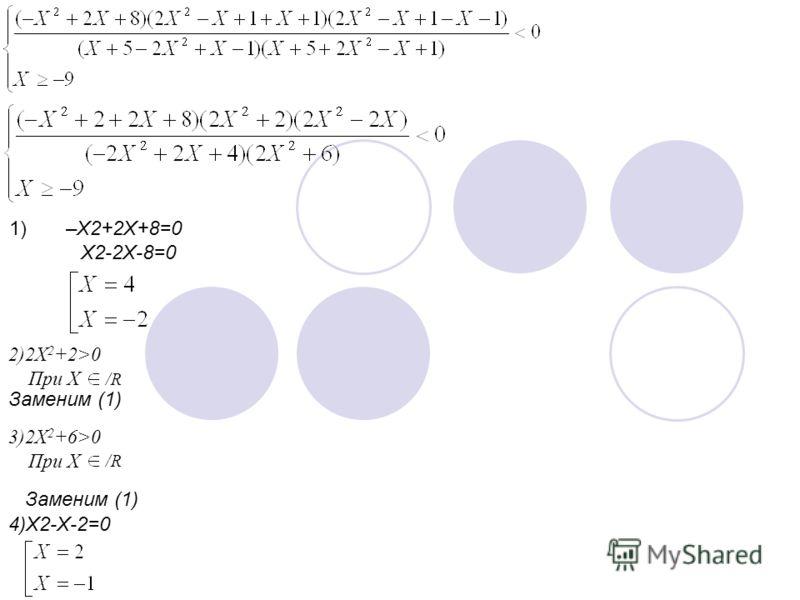 1) –X2+2X+8=0 X2-2X-8=0 2)2X 2 +2>0 При X /R Заменим (1) 3)2X 2 +6>0 При X /R Заменим (1) 4)X2-X-2=0