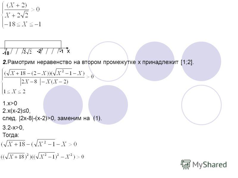-18 -2 x 2.Рамотрим неравенство на втором промежутке x принадлежит [1;2]. 1.x>0 2.xx-20, след. |2x-8|-x-2>0, заменим на1. 3.2-x>0, Тогда: