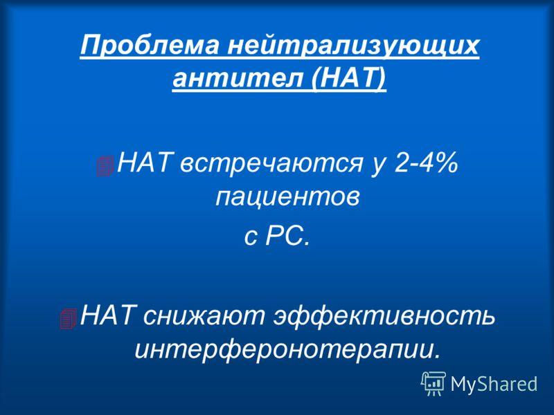 Проблема нейтрализующих антител (НАТ) 4 НАТ встречаются у 2-4% пациентов с РС. 4 НАТ снижают эффективность интерферонотерапии.