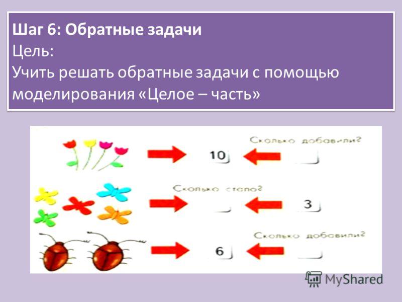 Шаг 6: Обратные задачи Цель: Учить решать обратные задачи с помощью моделирования «Целое – часть»