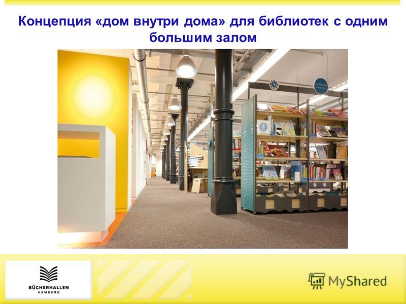 Концепция «дом внутри дома» для библиотек с одним большим залом