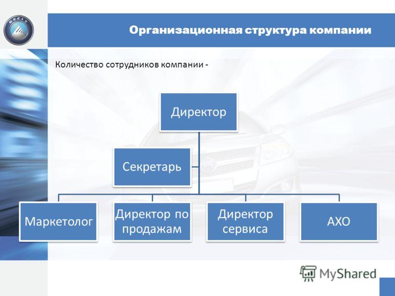 Организационная структура компании Директор Маркетолог Директор по продажам Директор сервиса АХО Секретарь Количество сотрудников компании -