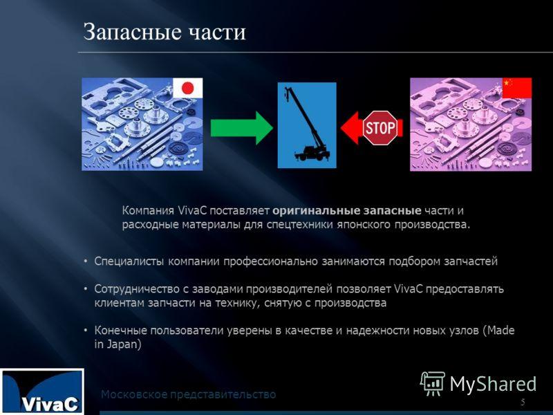 5 Запасные части Компания VivaC поставляет оригинальные запасные части и расходные материалы для спецтехники японского производства. Специалисты компании профессионально занимаются подбором запчастей Сотрудничество с заводами производителей позволяет