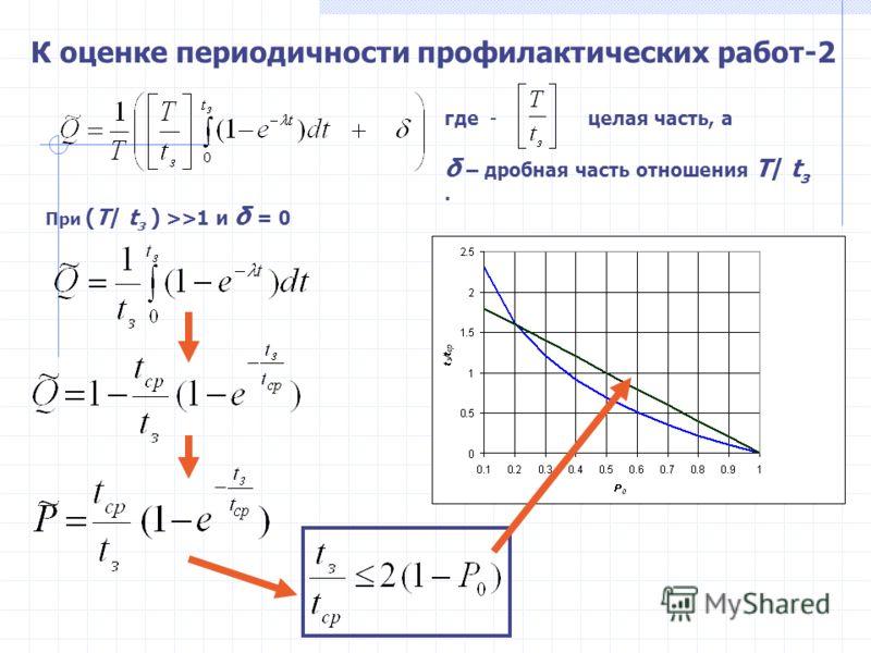 где - целая часть, а δ – дробная часть отношения Т/ t з. К оценке периодичности профилактических работ-2 При (Т/ t з ) >>1 и δ = 0