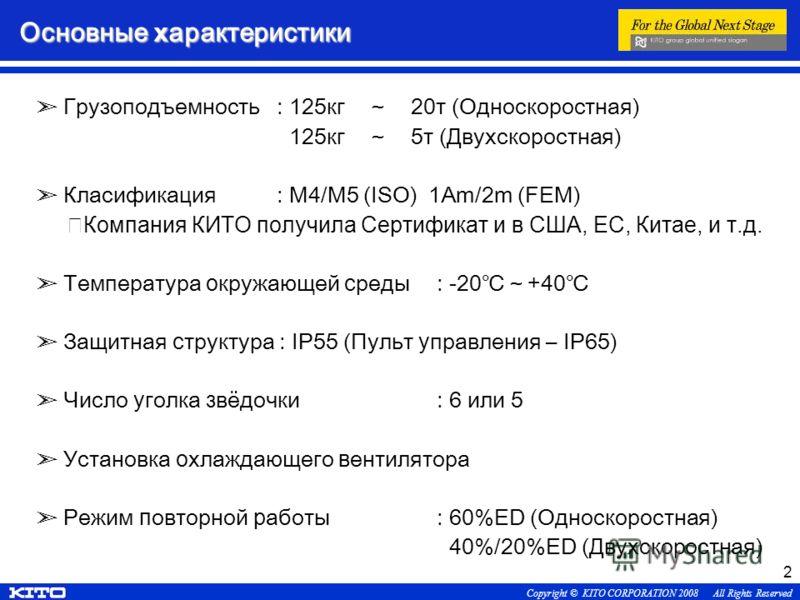 Copyright © KITO CORPORATION 2008 All Rights Reserved 2 Основные х арактеристики Грузоподъемность: 125кг20т (Односкоростная) 125кг5т (Двухскоростная) Класификация: М4/М5 (ISO) 1Am/2m (FEM) Компания КИТО получила Сертификат и в США, ЕС, Китае, и т.д.