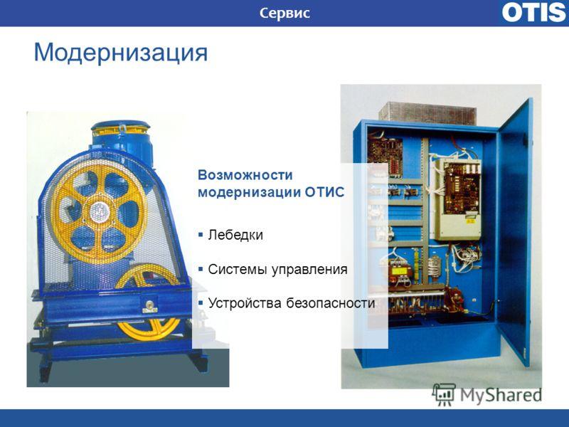 Возможности модернизации ОТИС Лебедки Системы управления Устройства безопасности Сервис Модернизация