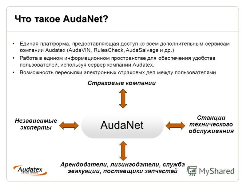 Что такое AudaNet? Единая платформа, предоставляющая доступ ко всем дополнительным сервисам компании Audatex (AudaVIN, RulesCheck, AudaSalvage и др.) Работа в едином информационном пространстве для обеспечения удобства пользователей, используя сервер
