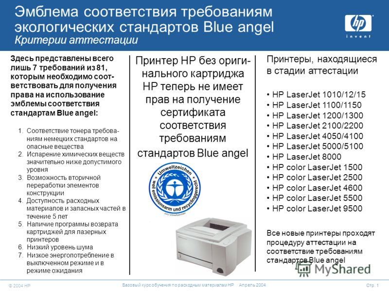 © 2004 HP Стр. 1 Базовый курс обучения по расходным материалам HP Апрель 2004 Принтеры, находящиеся в стадии аттестации HP LaserJet 1010/12/15 HP LaserJet 1100/1150 HP LaserJet 1200/1300 HP LaserJet 2100/2200 HP LaserJet 4050/4100 HP LaserJet 5000/51