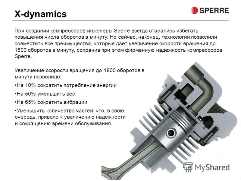 При создании компрессоров инженеры Sperre всегда старались избегать повышения числа оборотов в минуту. Но сейчас, наконец, технологии позволили совместить все преимущества, которые дает увеличение скорости вращения до 1800 оборотов в минуту, сохранив