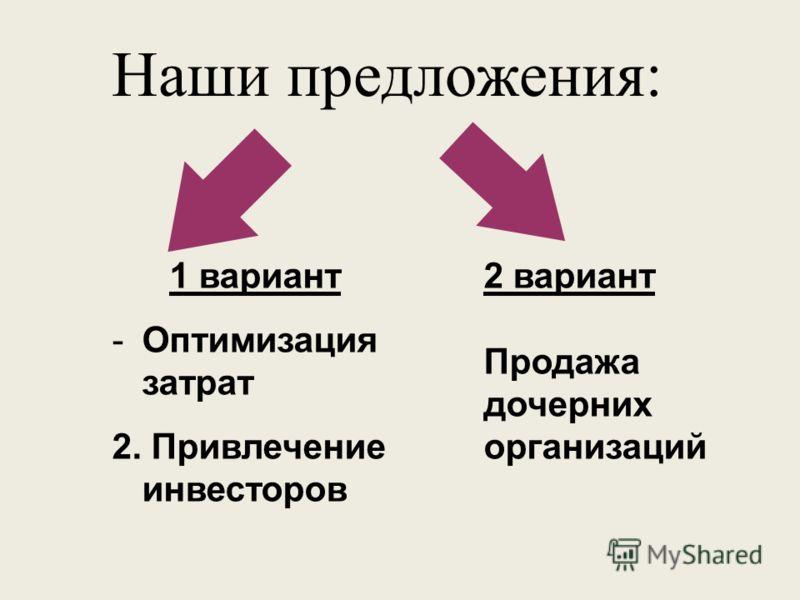 Наши предложения: 2 вариант Продажа дочерних организаций 1 вариант -Оптимизация затрат 2. Привлечение инвесторов